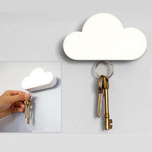 Hot Sell Fashion Creative Cloud-shaped Wall Magnetic Keychain White Novelty Key Holder(China)