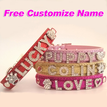 Customized Free Name Bling Personalized Dog Collar Rhinestone Small Puppy Cat Dog Necklace Buckle Red Rose Pink Gold(China)