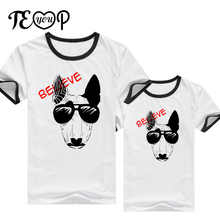 Believe hip pop pug dog lovers t-shirt summer couple women and men tee shirts punk good quality cute casual funny clothes tshirt