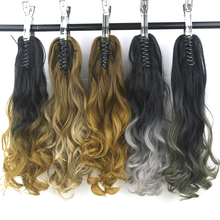 Soowee Black to Gray Blonde Ombre Claw Ponytail Synthetic Hair High Temperature Fiber Clip in Hair Extension Hairpiece Pony Tail