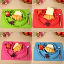 1Pc Cute Silicone Kids Placemat Mat baby kids feeding Plate Suction Dinning Table Food Tray Desk Placemat Plate Tableware