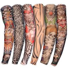 Nylon stretchy fake temporary tattoo sleeve Skin protective design body stockings tatoos for cool men women tattoo arm warmer(China)