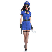 Ladies Navy Blue Police Woman Costume Cops Uniform Dress Sexy Police Officer Roleplay Halloween Party Fancy Dress(China)