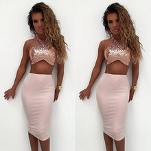 Buy Summer Sexy Women Ladies Clothes Sets Party Maxi Tops Vest Sleeveless Sequined Long Skirt Crop Top Two Piece Clothing Set for $6.68 in AliExpress store