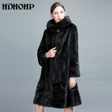 HDHOHP 2017 New Natural Mink Fur Coats Women Long With Hood Genuine Fur Parkas Thick Warm Winter Real Mink jackets Female(China)