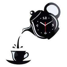 New Arrival Wall Clock Mirror Effect Coffee Cup Shape Decorative Kitchen Wall Clocks Living Room Home Decor Wandklok(China)