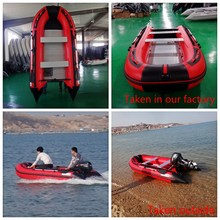 Red&black 0.9mm PVC Aluminium Floor Rubber Inflatable Boats With CE(China)