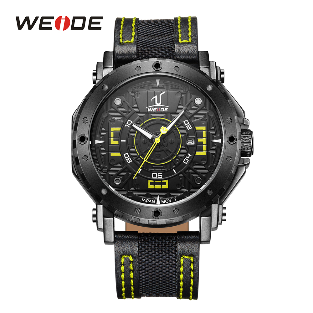 WEIDE Man Sport Analog Display Mens Watch Date Calendar Quartz Movement Display Buckle Leather Strap Band Waterproof Wristwatch <br>