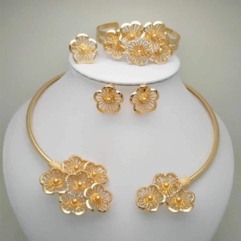 3833041e51d3 Мама Королевства Африканский нигерийский Свадебный большой цветок Ювелирные  наборы Дубай золото Цвет бусины цепочки и ожерелья