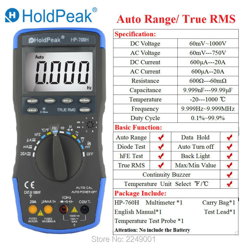 HoldPeak HP-760H True RMS Auto Range Digital Multimeter Meter with Min Max Value Frequency/Temperature/Capacitance Test<br>