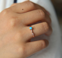 high quality rose gold turquoises stone thin band fashion simple design circle delicate women girl ring design