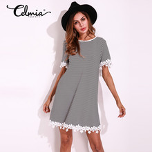 2017 Casual Summer Womens Dress Short Sleeve Round Neck Lace Mini Shift Dress Striped T Shirt Women Short Dresses Plus Size 5XL