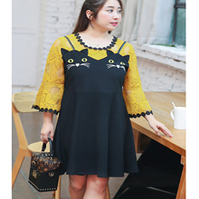 Plus Size 4XL Knit Lace Crochet Stitch Embroidery Cat Kawaii Ear Flare Sleeve Ladies Elegant Fake Two Pieces Dress Big Vestidos