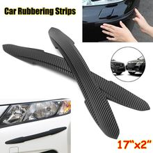 Pair Car Auto Rubber Front Rear Bumper Edge Guard Protector Scratch Sticker Strips(China)