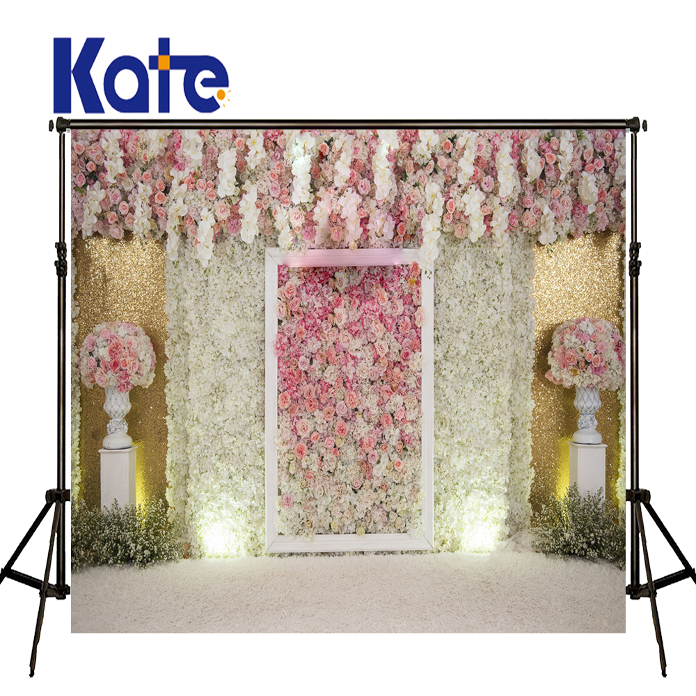 KATE Photography Background 5x7ft Wedding Background Pink Flower Wall Backdrop White Floor Background for Photocall Wedding<br>