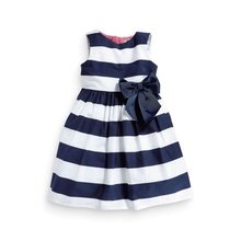Fashion summer smocked baby girl clothes toddler white and navy blue stripes cotton dress girls