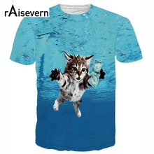 Raisevern New Cat Cobain 3D T Shirt Funny Kitten Loves Dollar Printed t-shirt Short Sleeve Casual Tee Shirts Camisetas