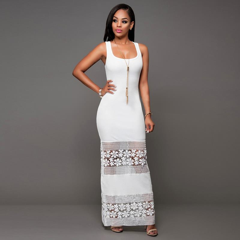 New Dresses Woman Sexy Women Package Hip Lace Hollow Party Maxi Dresses Casual Sleeveless Summer Style Long Dress LJ8363Y