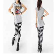 New Lady Fashion Skinny Chic Look Vertical Stripe Zebra Leggings Pants