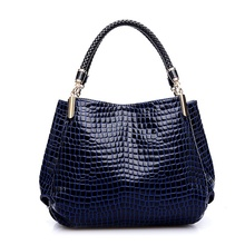 Fashion Women Crocodile Pattern Leather Shoulder Bag Female Tote Handbag, Navy(China)