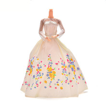 1PCS White Lace Flower Doll Clothes Print Doll Dress Handmake Wedding Dress Fashion Clothing Gown For Barbie Dolls Accessories