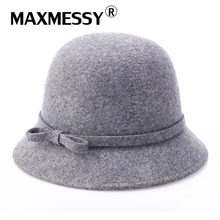 Maxmessy vintage elegante invierno Sombreros de fieltro sombrero 100% de  lana para las mujeres sombrero elegante para señora Niñ. ce97e49ebb0
