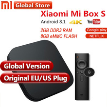 Первоначально Глобальный Версия Xiaomi Mi коробка 3 S 2 GB 8 GB Android 6,0 8,1 Smart 4 K Ультра HD WIFI Google Cast Netflix IPTV приставки(China)