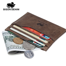 BISON DENIM Leather Men Wallets Cowhide Coin Purse Small Credit&id Wallets Short Male Purse Business Card Holders W9315