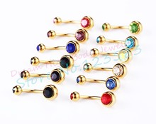 Gold-color Belly Button Rings Double Gem Crystal Belly Bar Ring Barbell Banana Anodized Surgical Steel Navel Ring 1.6mm*10mm(China)