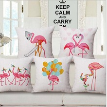 Pink Flamingo Series Printed Place Cotton Linen Cushion case Decorative Sofa Flamingo Cushion Cushion Case Throw Pillowslip