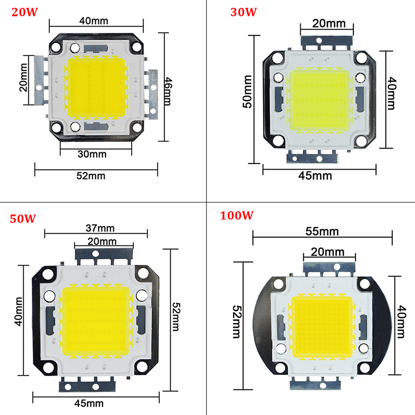 High Power 10W 20W 30W 50W 100W COB Integrated LED lamp Chips Bulb Diode Spotlight For Outdoor DIY Floodlight Spot light Lawn