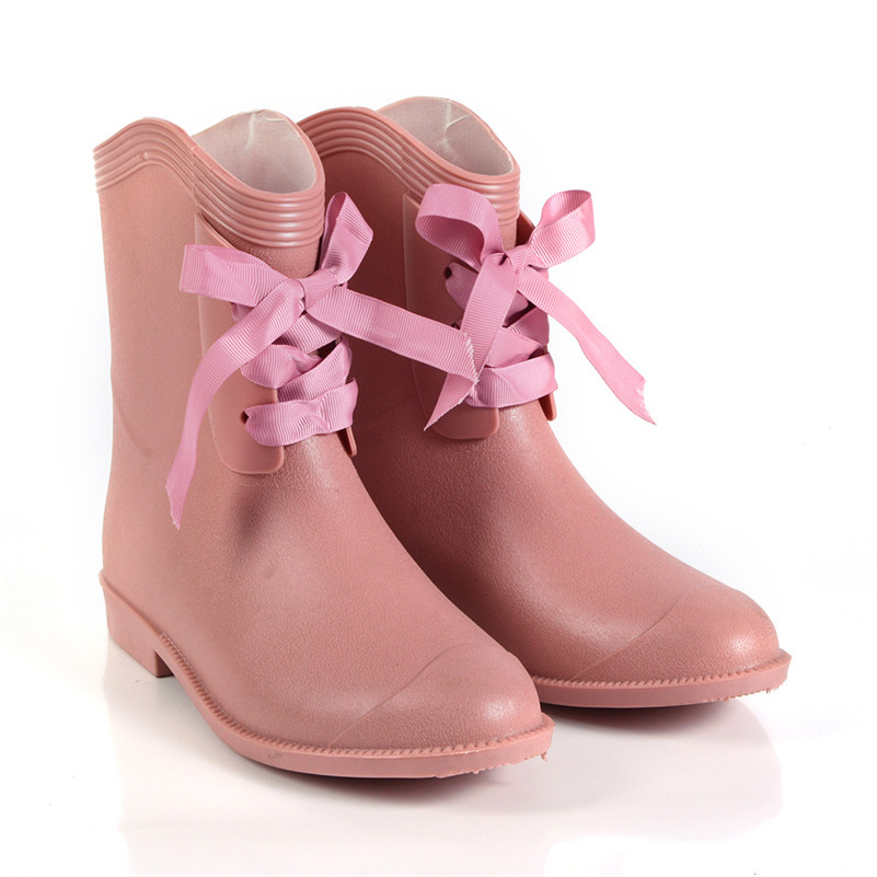 Pink Princess Series Superstar Rain Boots Shoes Woman High Quality Soft light Rubber With Lovely bow Boots For Women Footwear  <br><br>Aliexpress