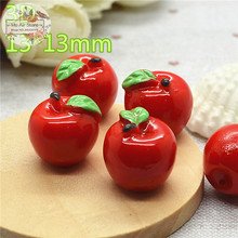 apple fruit 10PCS 3D Resin Flatback Cabochon Miniature food Art Supply Decoration Charm Craft DIY free shipping
