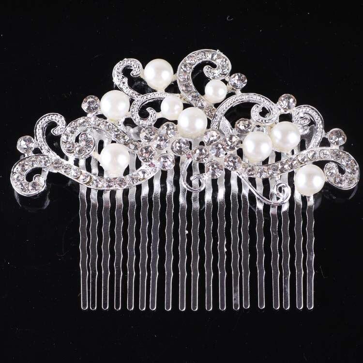 Bride headdress wedding accessories Bride jewelry headpiece vintage hair clip bridesmaid crystal rhinestone hair Pearl combs