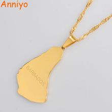 Anniyo Gold Color Map of the Barbados Island Pendant Necklaces Fashion Maps Jewelry Gifts #013921(China)