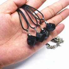 10pcs 15mm-25mm Natural black tourmaline ore energy chakra pendant Gems stone Crystal Healing Christmmas gift steering(China)
