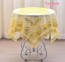 Luxury square gold PVC plastic waterproof Table cloth cover Oil cloth tea tablecloth dining banquet Christmas wedding decor(China)