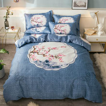 Luxury Nordic Bedding Set 4pcs Green Plant Printed Comforter Duvet Cover Sheets King Queen Size Sets For Boy Girl Home Textiles(China)