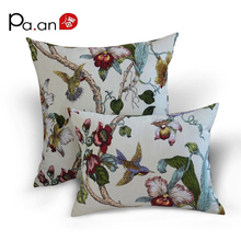 Europe 100% cotton pillow case brown classical flower bird printed decorative pillow covers 30x45cm home high quality
