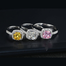Cushion 2 Carat Imitation Diamonds Engagement Ring Princess Cut Halo Wedding Rings For Women AAA Grade Cubic Zirconia