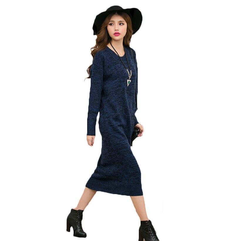 Plus Size Womens Dress Fashion 2017 Autunm Winter Sweater Pullover Women O Neck Loose Warm Knitted  Dresses Long Vestidos L954Îäåæäà è àêñåññóàðû<br><br>