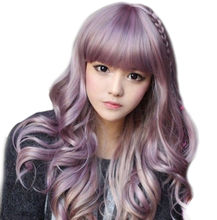 Girl Curly Harajuku Zippe Purple Gradient Lolita Cosplay Costume Party Wig(China)
