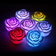 1 Piece Mini LED Romantic Rose Flower Color Changed Lamp LED Night Lights Wedding Party Decoration P30