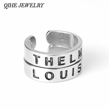 QIHE JEWELRY 2pcs/set Hand Stamped Thelma&Louise Open Ring Set Best friends Thelma And Louise Jewelry Partners In Crime Jewelry(China)