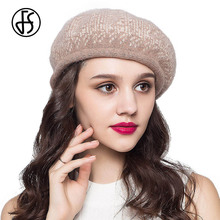 FS Winter Women French Beret Hat Wool Baret Snow Pattern Lady Vintage Black Gray Red Red Femme Painters Hat Berets Cap(China)