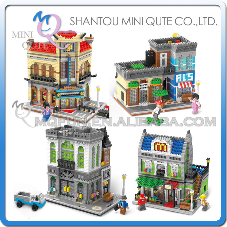 Mini Qute Lele Brother Streetscape Bank  Theatre Coffee house gift block building blocks cartoon figures educational toy<br>