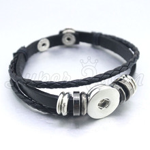 6colors Adjustable 18/20mm Metal   Snap Button PU leather Bracelet B321 Watches Women One Direction men's arm cuff bangle