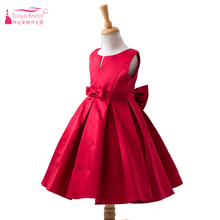 Red Satin Cute Flower Girls Dresses For wedding And Party Jewel With Charming Bow vestido longo Real In Stock ZF017(China)