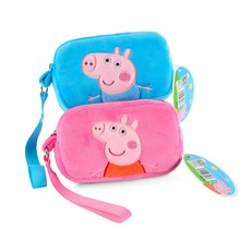 1pcs 16CM Genuine plush pig bag Pink Peppa Pig George Backpack high quality hot sale Animal satchel For Children's Handbag(China)