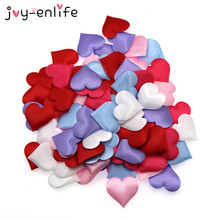 JOY-ENLIFE 50pcs/bag Colorful 35mm Heart Fabric Confetti Table Scatter Decor Wedding Party Decor Birthday Party Supplies(China)